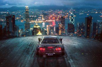 Black car wallpaper, 3D, render, city, Khyzyl Saleem, Nissan GTR, Hong Kong