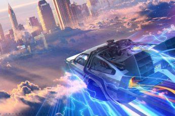 Wallpaper car illustration, The Time Machine, Back to the Future, DMC DeLorean