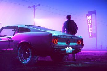 Wallpaper 1967 Mustang Fastback car Drive neon Retrowave synthwave vehicle Art Skyline HD Art