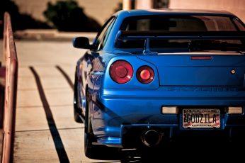 Wallpaper blue Skyliner vehicle, Nissan Skyline GT-R, Nissan GTR, Nissan GTR R34