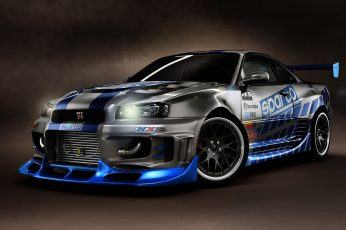 Wallpaper Gray and black car, Nissan Skyline GT-R, Nissan Skyline GT-R R34