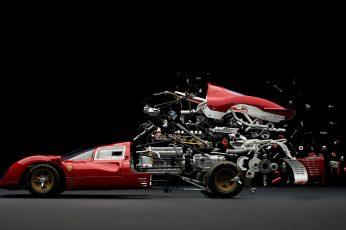 Red car, Ferrari, photo manipulation, engines, gears, motors wallpaper