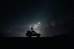 Wallpaper stars, sky, space, car, milky way, starry, night