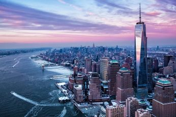 Daytime, purple sky, united states, usa, new york, one world trade center wallpaper