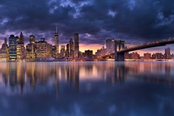 Wallpaper Bridge painting, Panoramic photography of cityscape and body of water