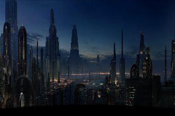 City sky illustration, silhouette of buildings at nighttime, science fiction