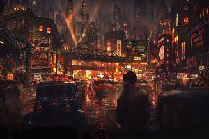 City lights at night wallpaper, man standing on city light, artwork