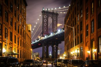 Wallpaper USA, Brooklyn bridge, New York, Manhattan, street, home