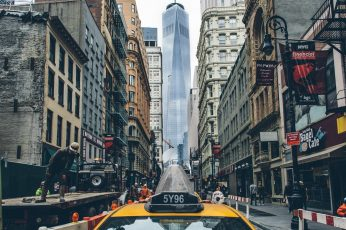 Taxi, New York City wallpaper, building, One World Trade Center