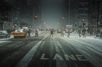Grey asphalt road, landscape, city, snow, urban, traffic lights wallpaper