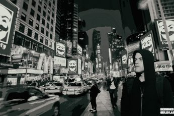 Mr. Robot, fsociety, New York City wallpaper, Time Square, Elliot (Mr. Robot)