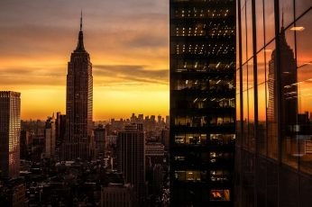 Empire State Building New York City, sunset, cityscape, USA, architecture wallpaper