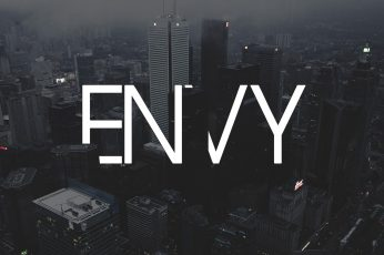 Wallpaper Gray concrete building with text overlay, high-rise buildings with grey Envy text overlay