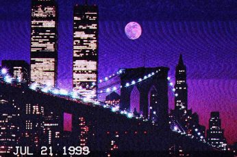 Wallpaper Twin Towers, World Trade Center, New York City, vaporwave, built structure