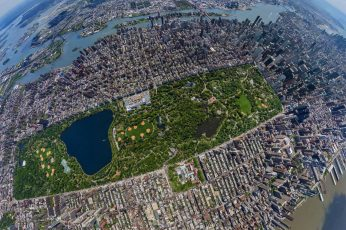 Aerial view of New York Central Park, fish-eye photography of high rise buildings wallpaper