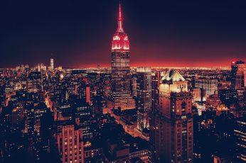 Empire State building, cityscape, USA, night, New York City, Manhattan wallpaper