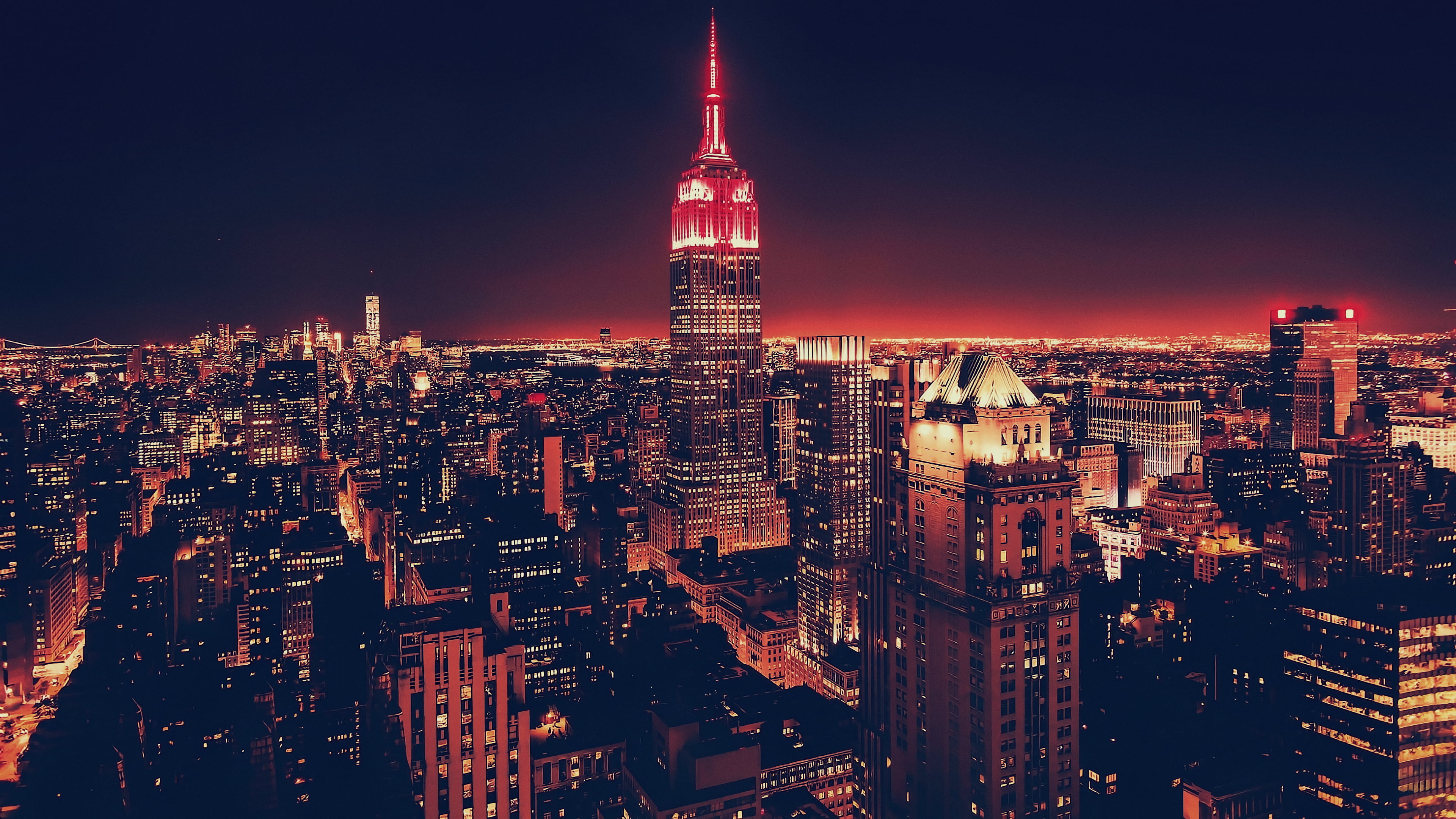 Empire State Building Cityscape Usa Night New York City Manhattan Wallpaper Wallpaper For You The Best Wallpaper For Desktop Mobile City Wallpaper