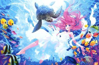 Fishes, Underwater, Turtle, Kawaii, Mermaid wallpaper