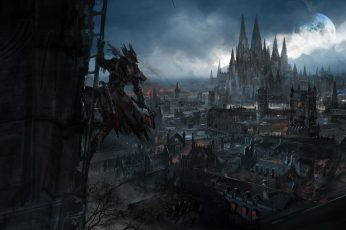 Wallpaper anime, Anime Grasoso, Bloodborne, Video Game Art, fantasy city