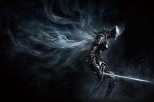 Wallpaper Dark Souls game illustration, character holding sword poster