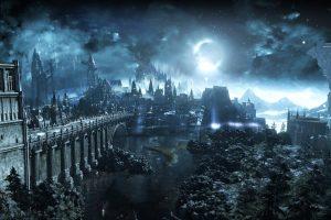 Wallpaper anime castle cover, Dark Souls, Dark Souls III, Moon, video games