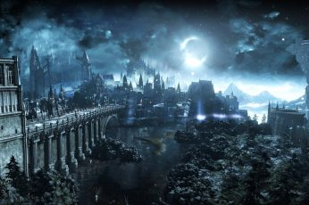 Wallpaper anime castle cover, Dark Souls, Dark Souls III, Moon, video games