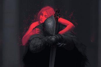 Wallpaper Black knight, Dark Souls II, video games, fan art, sword, one person