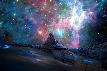 Galaxy wallpaper, cosmic ray illustration, stars, mountains, nebula
