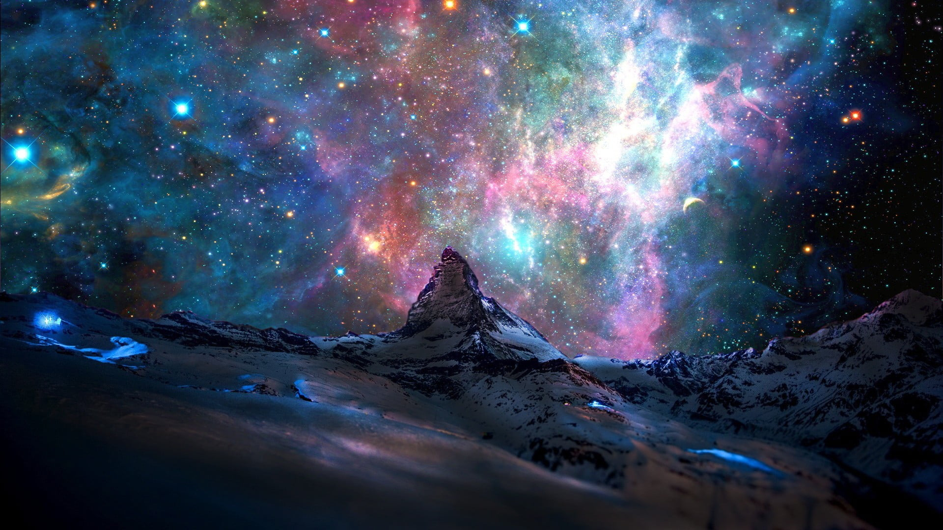 Dark Wallpaper Galaxy Wallpaper Cosmic Ray Illustration Stars Mountains Nebula Wallpaper For You The Best Wallpaper For Desktop Mobile