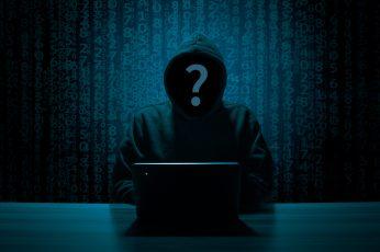 Person in gray hoodie using computer inside dark room, hacker wallpaper