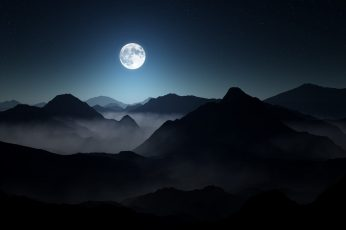 moon and mountains, nature, landscape, mist, starry night, moonlight wallpaper