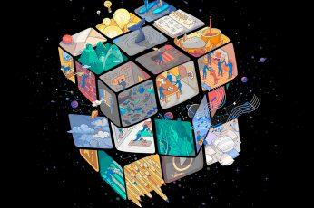 Amoled, dark, Rubik's Cube wallpaper