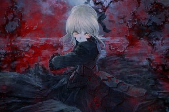 Female anime character wallpaper, Type-Moon, Fate Series, Saber Alter