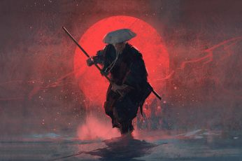 Wallpaper Samurai painting, man wearing suit and hat holding sword painting
