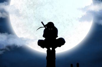 Wallpaper Uchiha Itachi illustration, Naruto Shippuuden, ANBU, silhouette