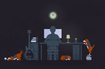 Person sitting on computer desk with three beagles illustration, illustration of person infront of computer near guitar and three puppies