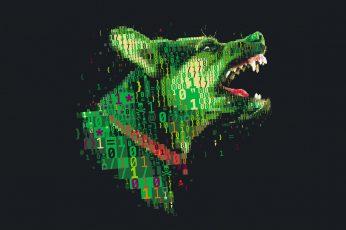 Binary dog illustration, digital art, numbers, skull and bones wallpaper