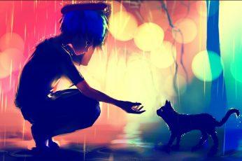 Anime boy, cat, sadness, profile view, bokeh, raining, domestic wallpaper