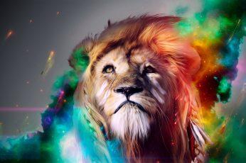 Lion illustraiton, abstract, artwork, colorful, digital art, motion wallpaper