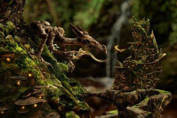 Baby dragon digital wallpaper, nature, fantasy art, creature