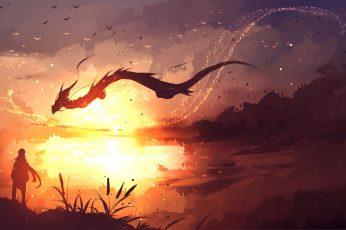 Fantasy wallpaper art, dragon, landscape, digital art, sunlight, sky
