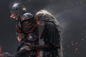 Knight and Princess wallpaper, fantasy art, digital art, Dark Souls III