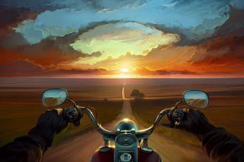 Wallpaper person riding motorcycle wallpaper, digital art, landscape, sunset