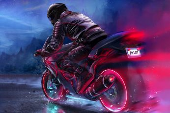 Wallpaper black and red sports bike, digital art, motorcycle, pilot, fantasy art