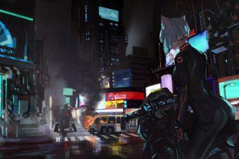 Wallpaper woman riding on motorcycle illustration, short hair, city, cyberpunk