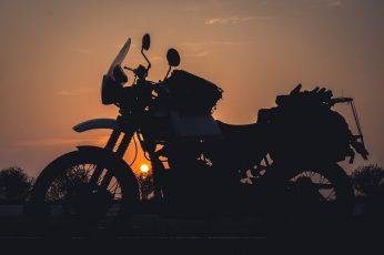 Wallpaper royal enfield himalayan, motorcycle, sunrise, road trip, ride