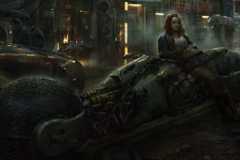 Wallpaper Eddie Mendoza, women, artwork, digital art, city, street, cyberpunk