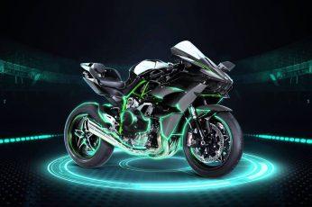 Wallpaper black and green Kawasaki H2R sports bike, motorcycle, Kawasaki Ninja H2R
