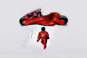 Man in red suit wallpaper, Akira, kaneda, anime, motorcycle, indoors