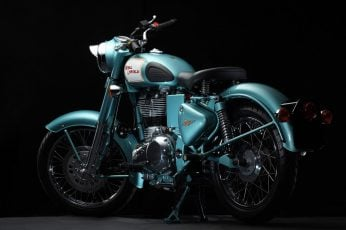 Royal Enfield Classic 500, blue and black cafe racer motorcycle wallpaper